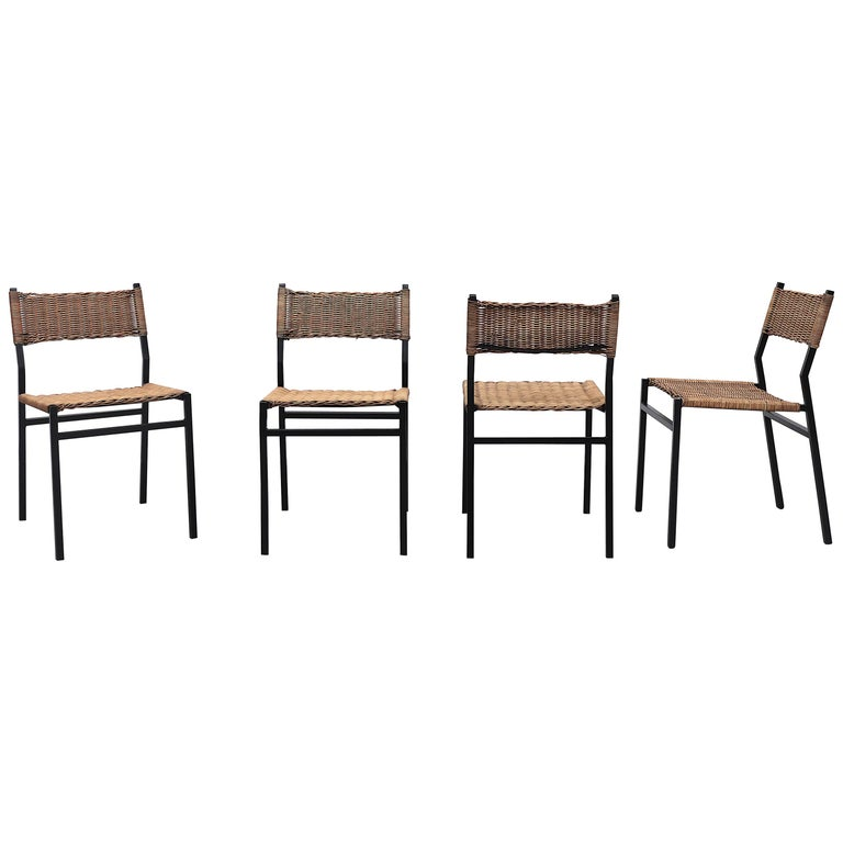 Set of 4 Martin Visser Rattan Dining Chairs For Sale