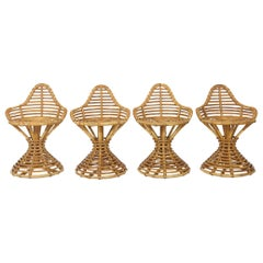 Set of 4 Mary Beatrice Bloch Rattan Stools Manufactured by Robert Wengler
