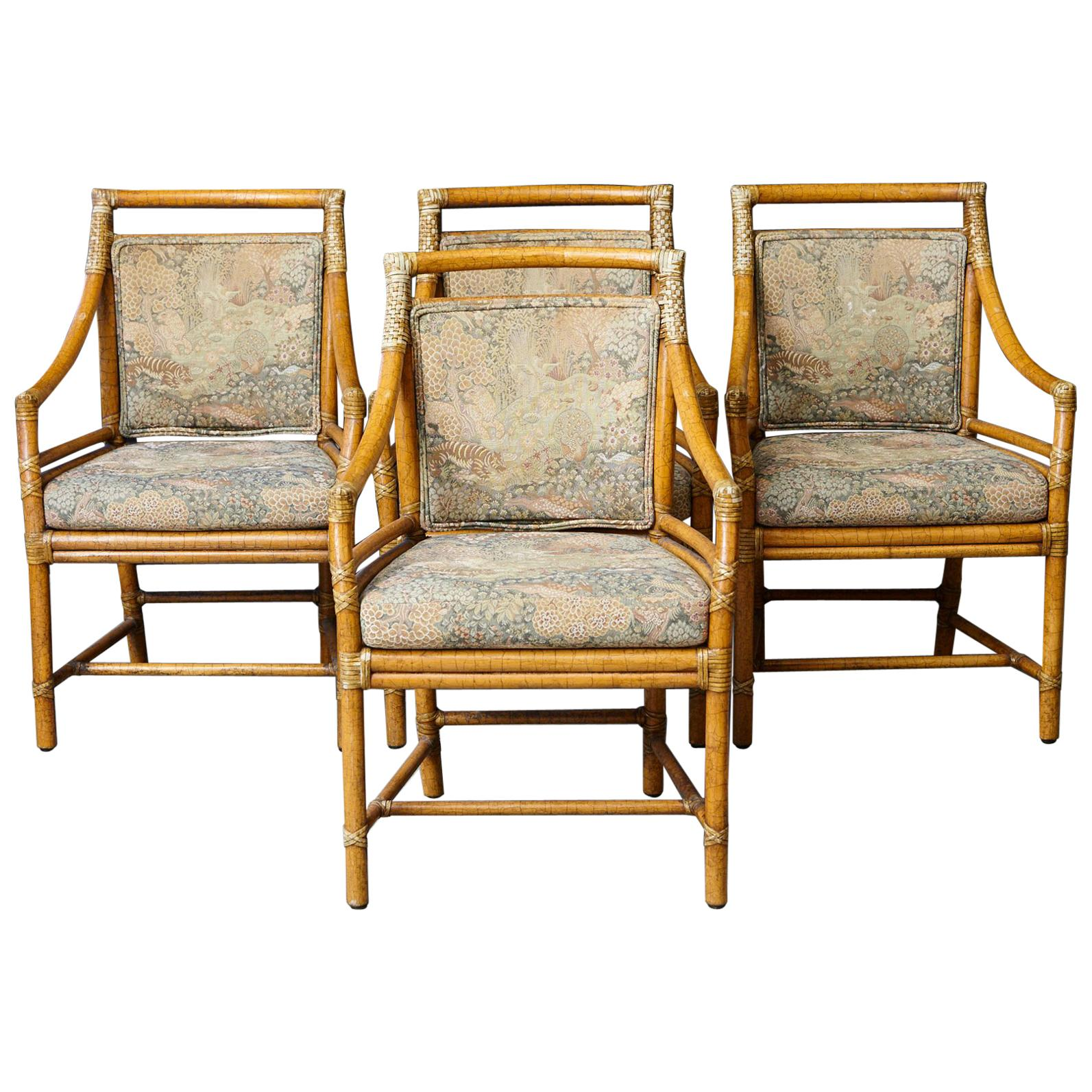 Set Of 4 McGuire Rattan Target (M 59U) Armchairs With Upholstered Seat