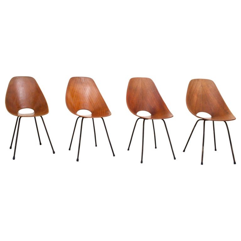 Set of 4 Medea Dining Chairs by Vitorio Nobili for Fratelli Tagliabue, 1955 For Sale