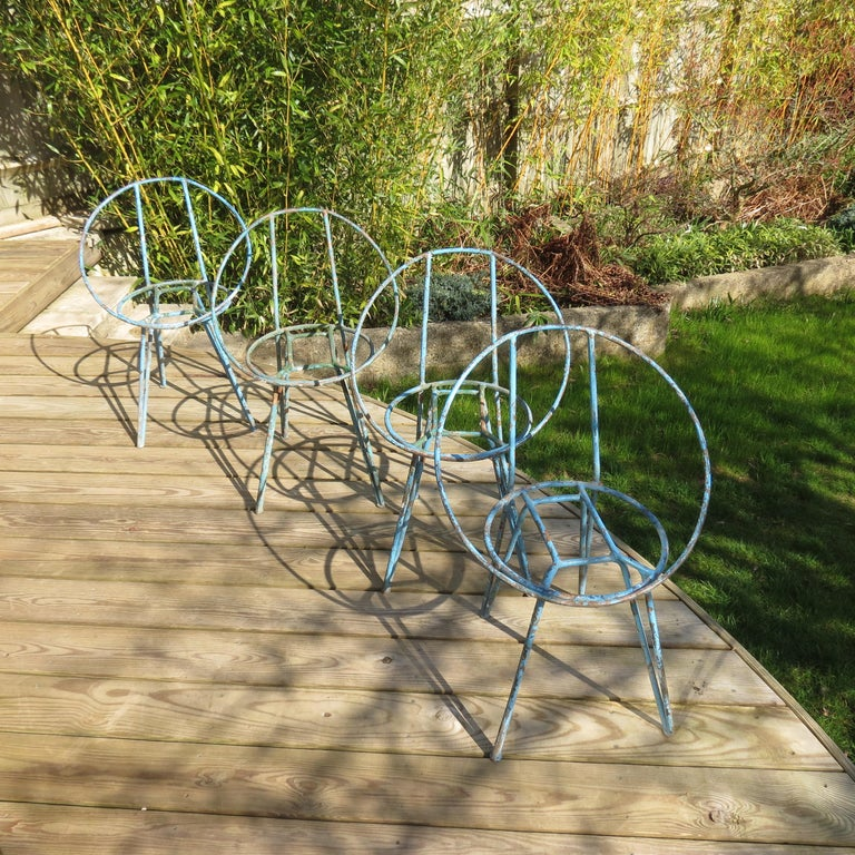 Set of 4 Metal Garden Chairs from the 1950s For Sale 3