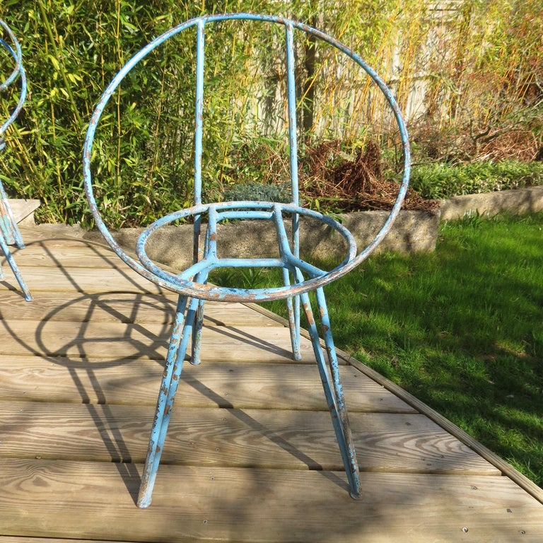 Set of 4 Metal Garden Chairs from the 1950s For Sale 4