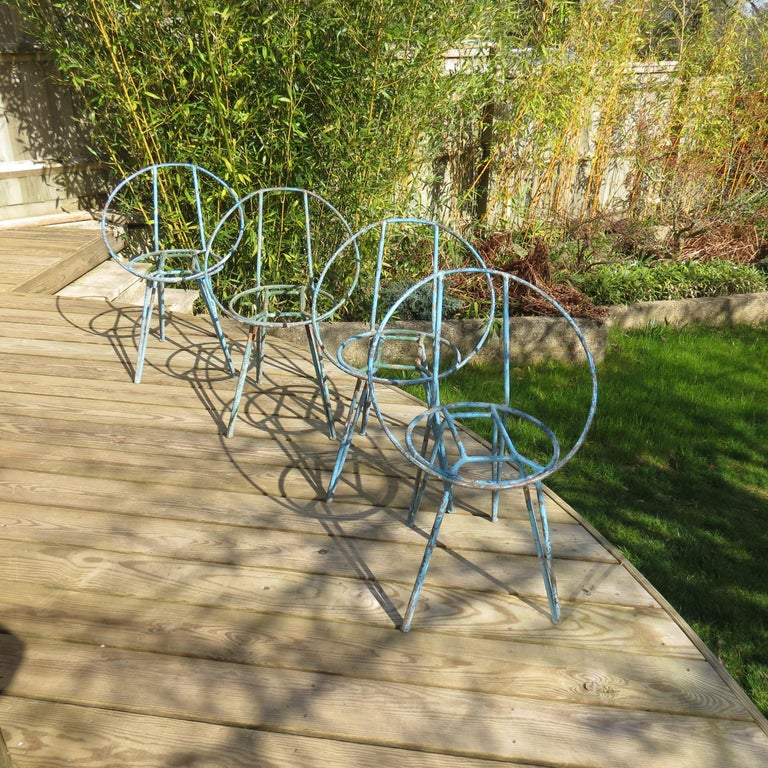 Set of 4 Metal Garden Chairs from the 1950s For Sale 6