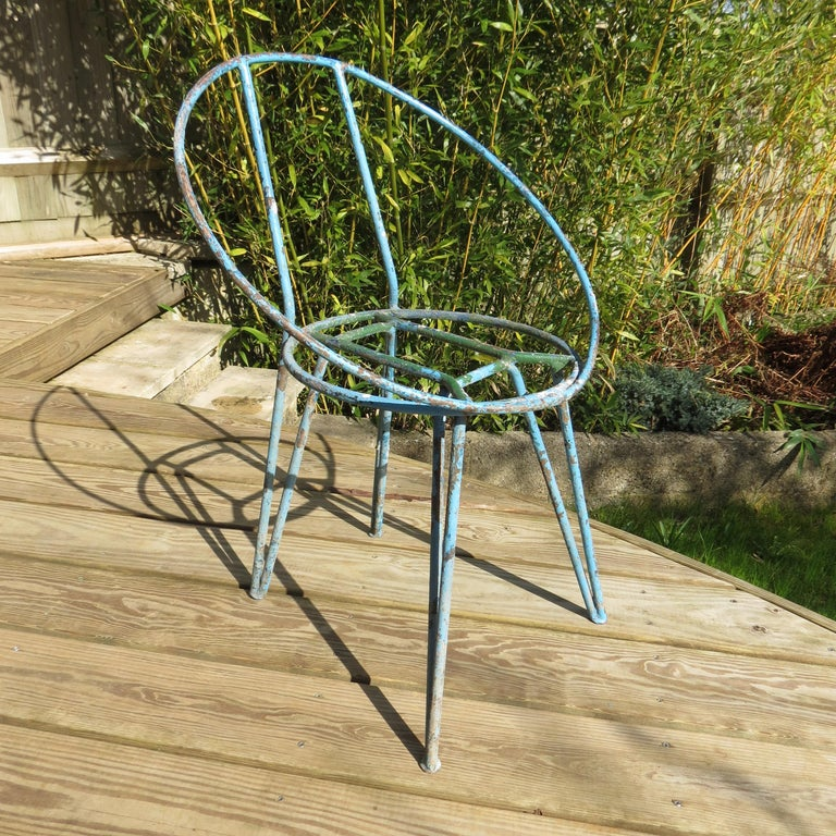 Mid-Century Modern Set of 4 Metal Garden Chairs from the 1950s For Sale