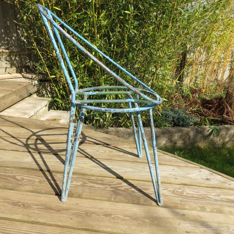 German Set of 4 Metal Garden Chairs from the 1950s For Sale