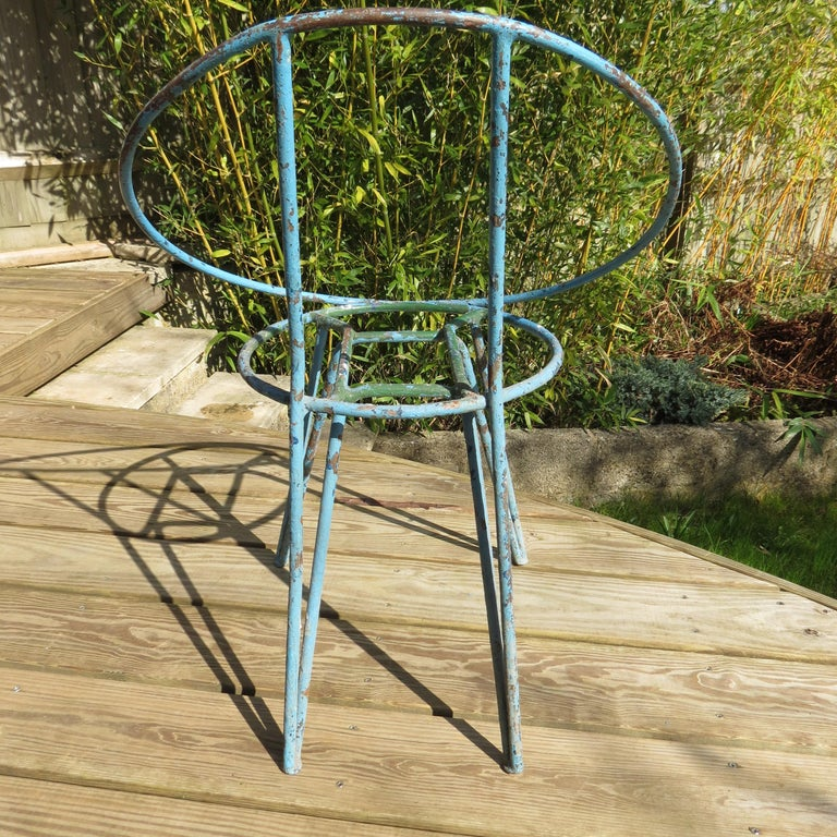 Machine-Made Set of 4 Metal Garden Chairs from the 1950s For Sale