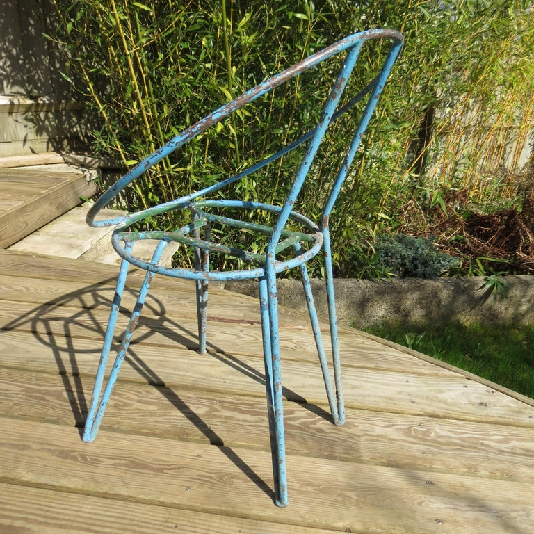 Set of 4 Metal Garden Chairs from the 1950s In Good Condition For Sale In Stow on the Wold, GB