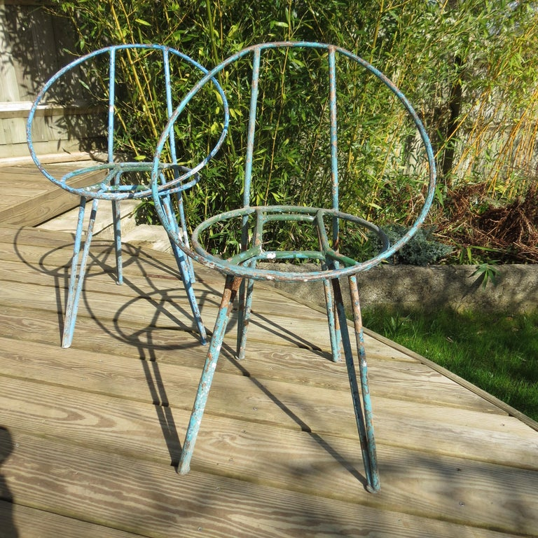 20th Century Set of 4 Metal Garden Chairs from the 1950s For Sale