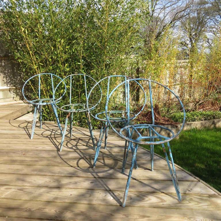 Set of 4 Metal Garden Chairs from the 1950s For Sale 2