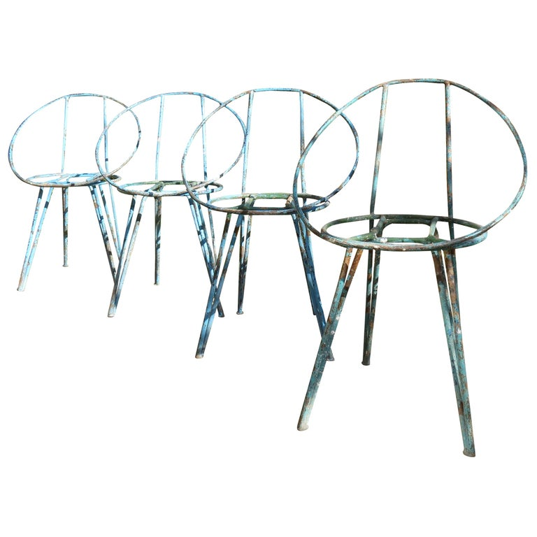 Set of 4 Metal Garden Chairs from the 1950s For Sale
