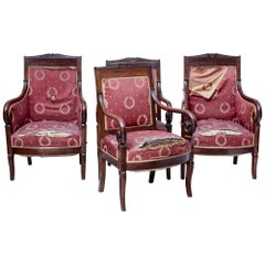 Set of 4 Mid-19th Century Danish Mahogany Armchairs