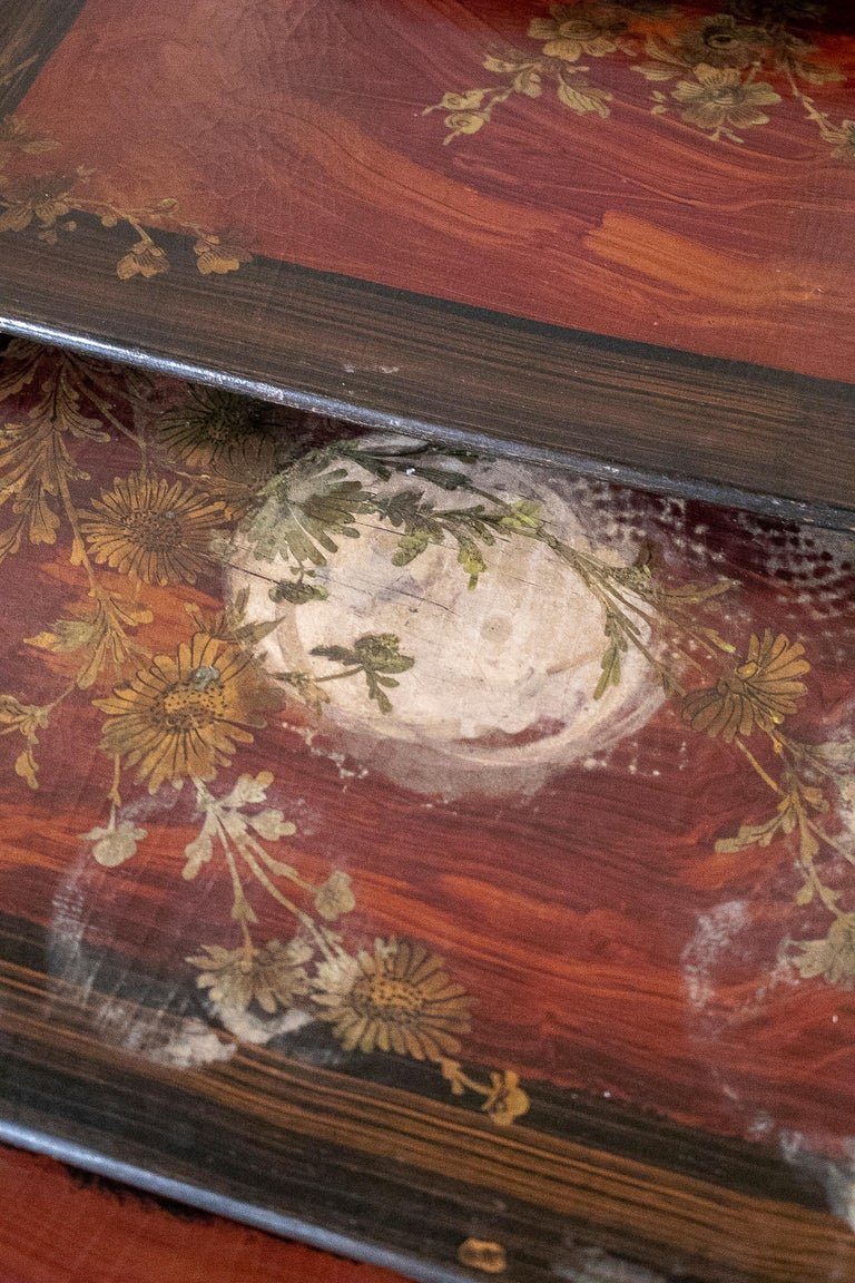 Set of 4 Mid 19th Century French Hand Painted Wooden Nesting Tables 7