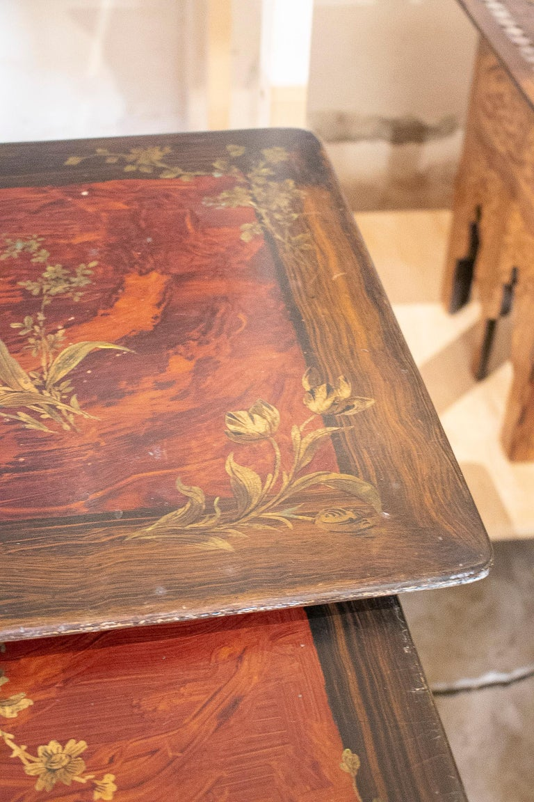 Set of 4 Mid 19th Century French Hand Painted Wooden Nesting Tables 8