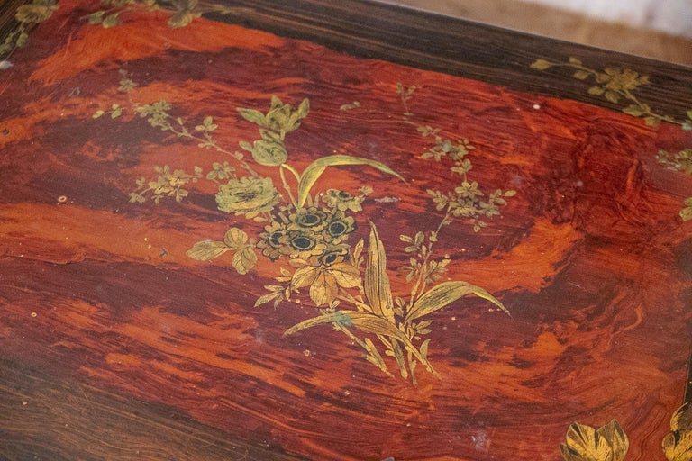 Set of 4 Mid 19th Century French Hand Painted Wooden Nesting Tables 9