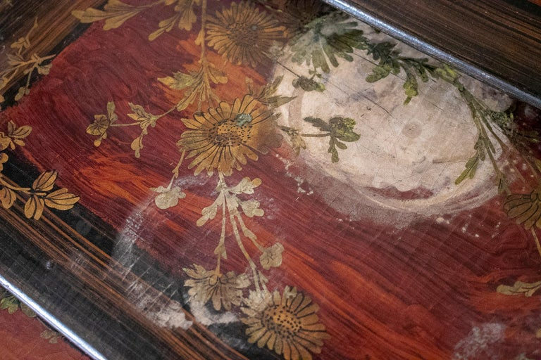 Set of 4 Mid 19th Century French Hand Painted Wooden Nesting Tables 13