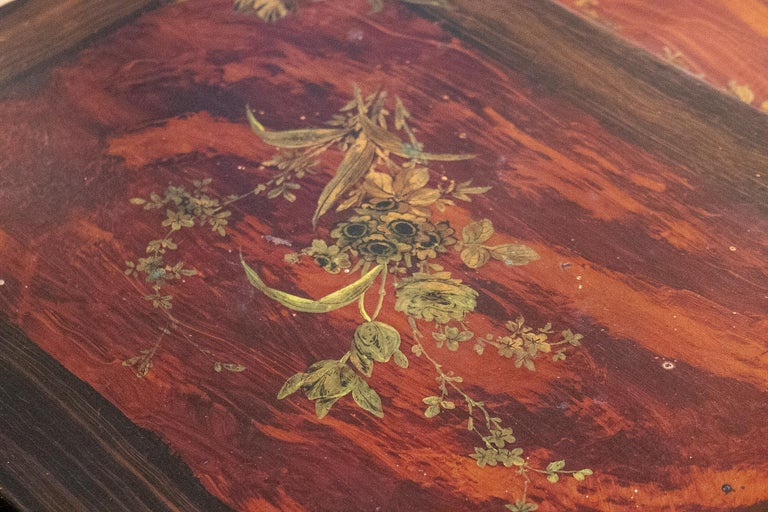 Set of 4 Mid 19th Century French Hand Painted Wooden Nesting Tables 14