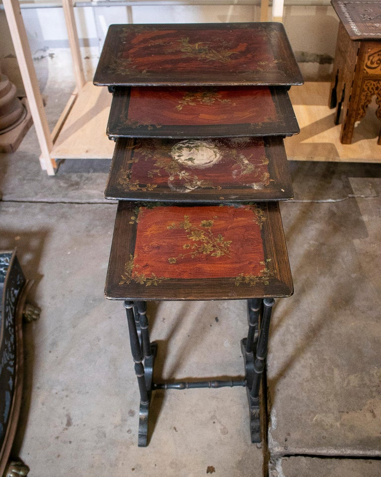 Set of 4 Mid 19th Century French Hand Painted Wooden Nesting Tables 1