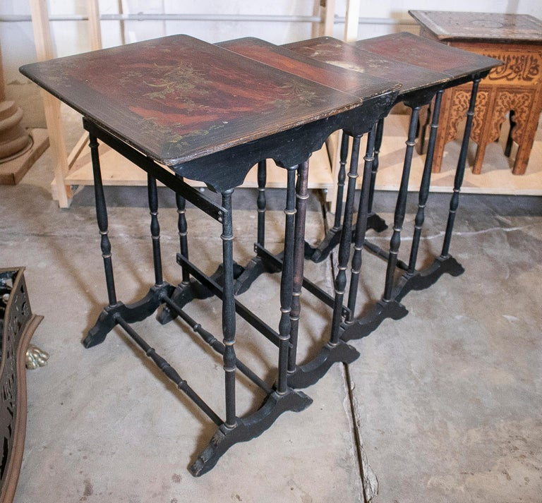 Set of 4 Mid 19th Century French Hand Painted Wooden Nesting Tables 3