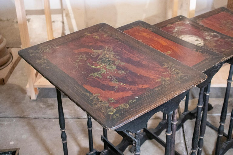 Set of 4 Mid 19th Century French Hand Painted Wooden Nesting Tables 4