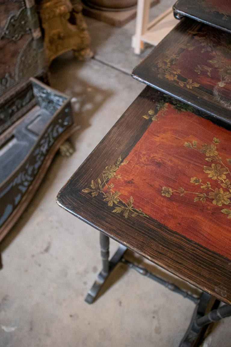 Set of 4 Mid 19th Century French Hand Painted Wooden Nesting Tables 5