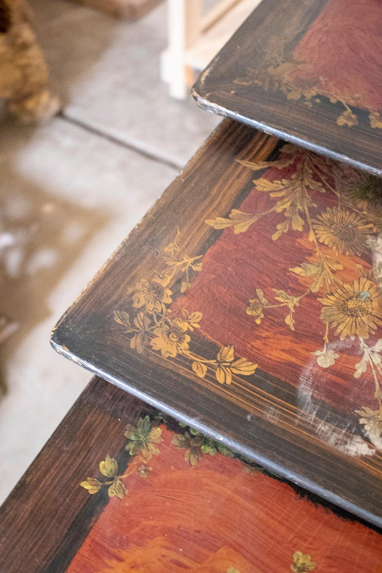 Set of 4 Mid 19th Century French Hand Painted Wooden Nesting Tables 6