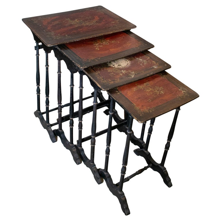 Set of 4 Mid 19th Century French Hand Painted Wooden Nesting Tables