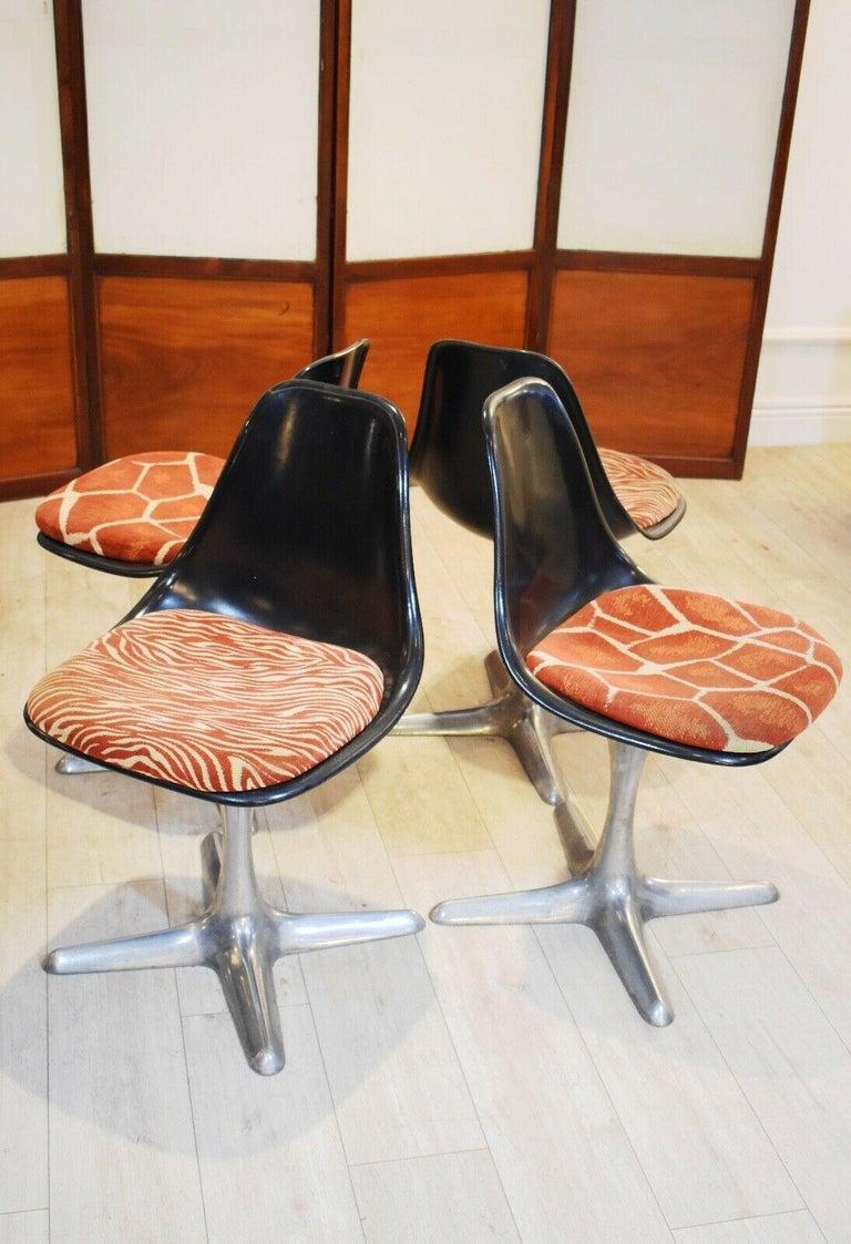 Mid-Century Modern Set of 4 Mid-20th Century Arkana Dining Chairs Aluminium Swivel Base For Sale