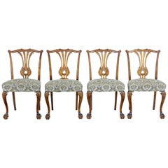 Set of 4 Mid-20th Century Chippendale Inspired Dining Chairs