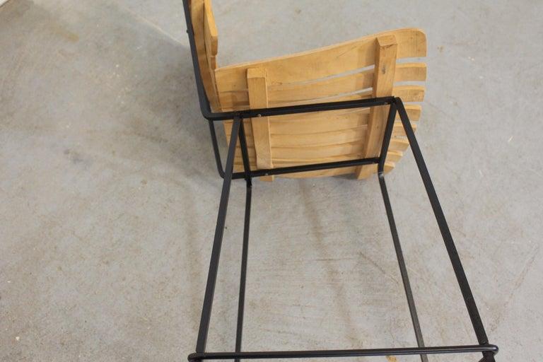 Set of 4 Mid-Century Arthur Umanoff Slat Style Bar Stools For Sale 4