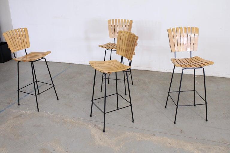 Set of 4 Mid-Century Arthur Umanoff Slat Style Bar Stools For Sale 5