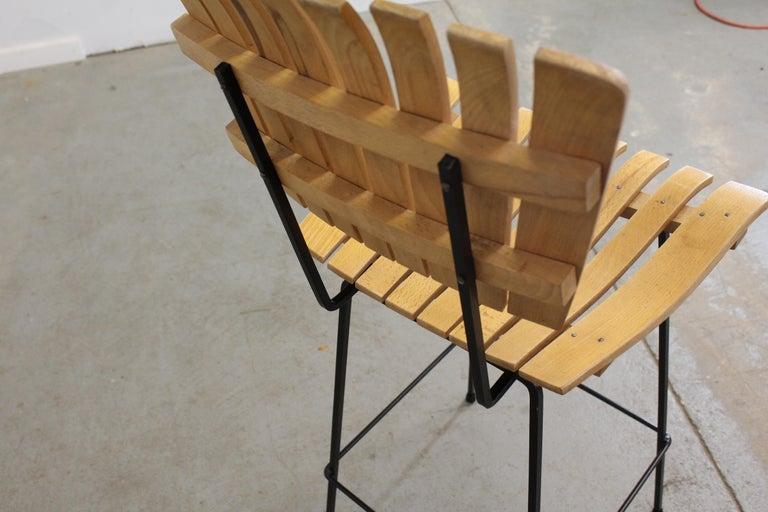 Set of 4 Mid-Century Arthur Umanoff Slat Style Bar Stools For Sale 2