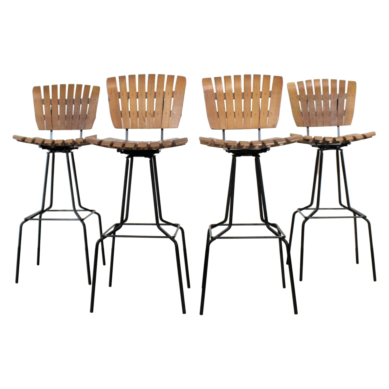 Set of 4 Mid-Century Arthur Umanoff Slat Style Bar Stools