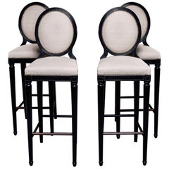 Set of 4 Mid Century Beech Bar Stools with Black Finish