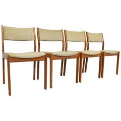 Set of 4 Mid-Century Danish Modern D-Scan Teak Side Dining Chairs