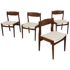 Set of 4 Midcentury Danish Modern Teak Side Dining Chairs with Teak Backs