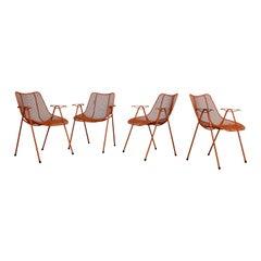 Set of 4 Mid-Century Danish Modern Woodard Sculptural Arm Chairs