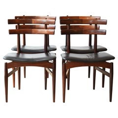 Set of 4 Mid Century Danish Poul Hundevad Model 30 Rosewood Dining Chairs