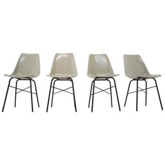 Set of 4 Midcentury Design Fiberglass Dining Chairs / Czechoslovakia, 1960s