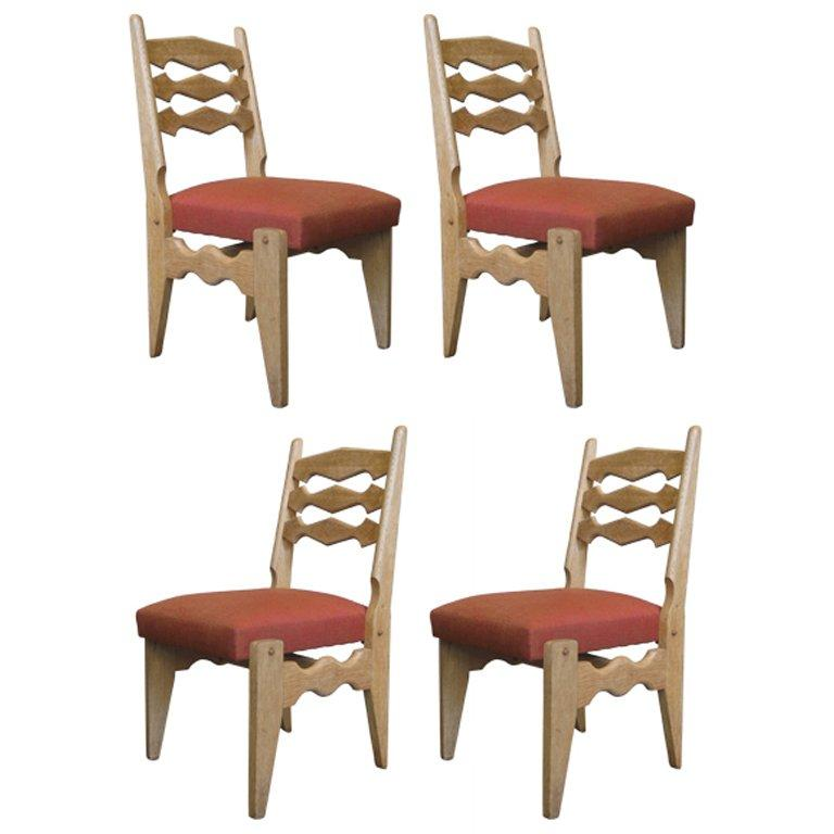 Set of 4 Mid-Century Dining Chairs by Guillerme et Chambron For Sale