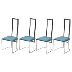 Set of 4 Midcentury Italian Lucite Green Chairs, 1970s