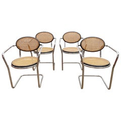 Set of 4 Mid-Century Italian Tubular and Caning Chairs, 1970s
