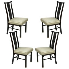 Set of 4 Mid-Century Modern Asian Style Dark Brown Henredon Dining Side Chairs
