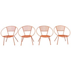 Set of 4 Mid-Century Modern Atomic Cicchelli Style Outdoor Circle Hoop Chairs