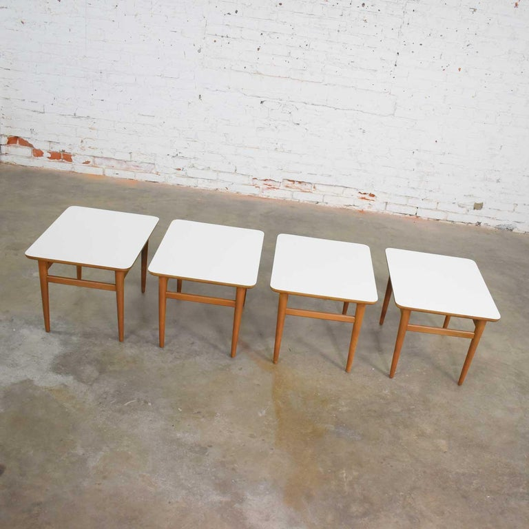 Set of 4 Mid-Century Modern Birch Side Tables with White Laminate Tops & Tapered For Sale 6