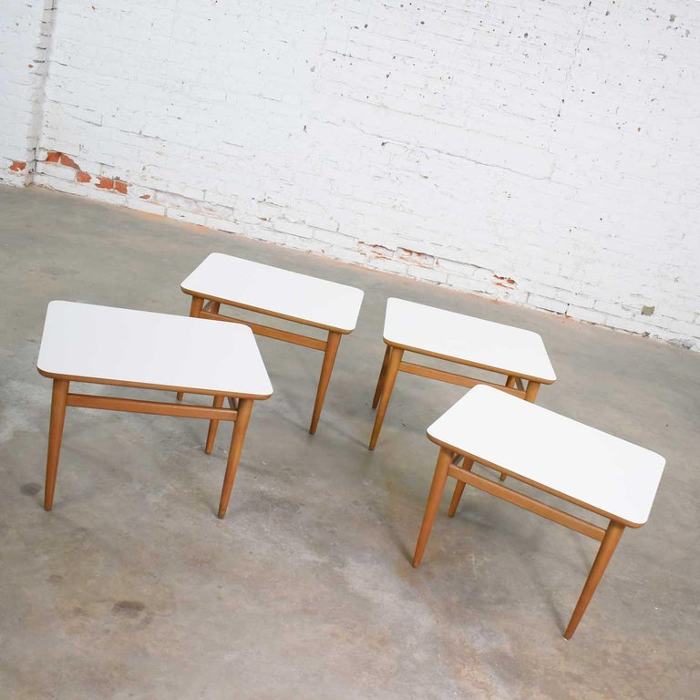 20th Century Set of 4 Mid-Century Modern Birch Side Tables with White Laminate Tops & Tapered For Sale