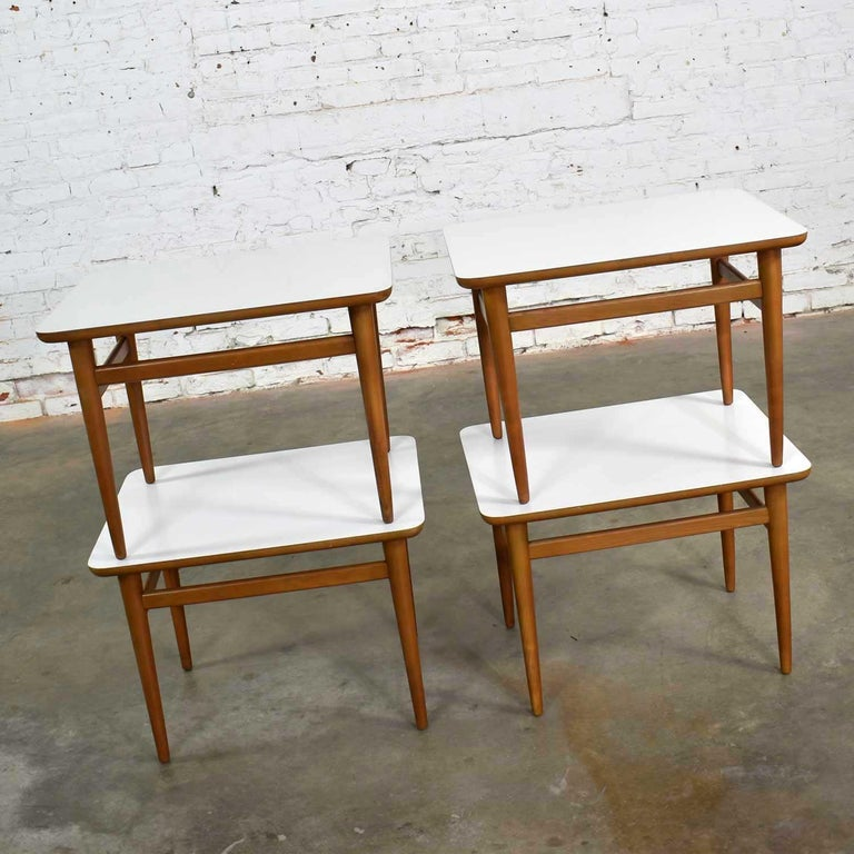 Set of 4 Mid-Century Modern Birch Side Tables with White Laminate Tops & Tapered For Sale 1