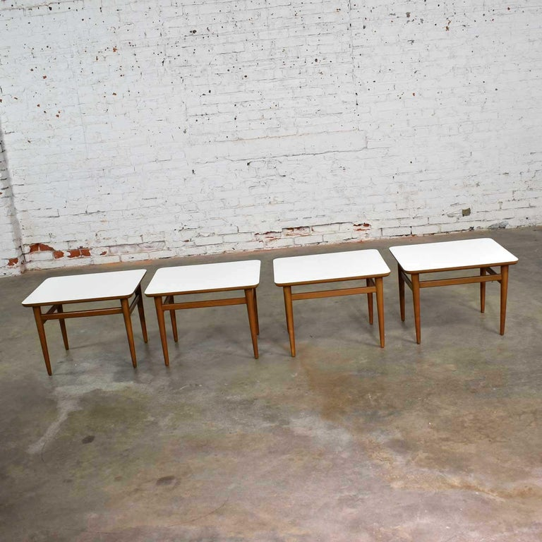 Set of 4 Mid-Century Modern Birch Side Tables with White Laminate Tops & Tapered For Sale 2