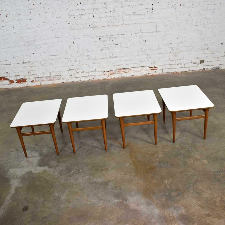 Set of 4 Mid-Century Modern Birch Side Tables with White Laminate Tops & Tapered For Sale 3