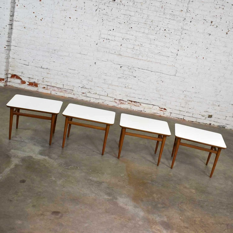 Set of 4 Mid-Century Modern Birch Side Tables with White Laminate Tops & Tapered For Sale 4