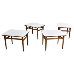 Set of 4 Mid-Century Modern Birch Side Tables with White Laminate Tops & Tapered